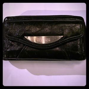 Black Zip Wallet Snap Front Distressed Leather